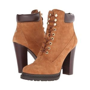 BCBG Maude Brown Suede Lace Up Heeled Booties